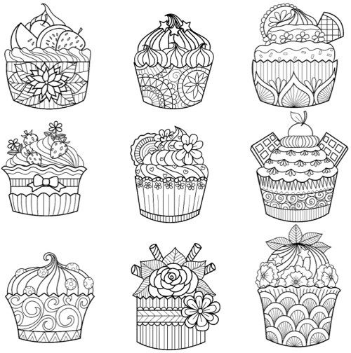 80 best Cupcakes Cakes Coloring Pages for Adults images on