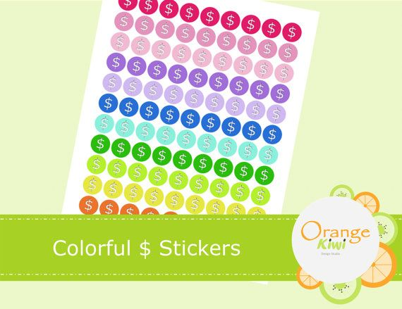 108 Colorful Dollar Sign Planner Stickers  by OrangeKiwiDesign