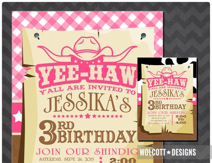Cowgirl Invitation - Cowgirl Birthday Invite - Cow Girl Invite - Yee-Haw - Pink Western - Western Invitation Printable by WolcottDesigns on Etsy
