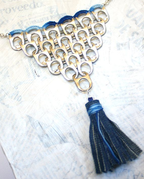 Boho Denim recycled can pull tab/pop top by LieneCreations on Etsy
