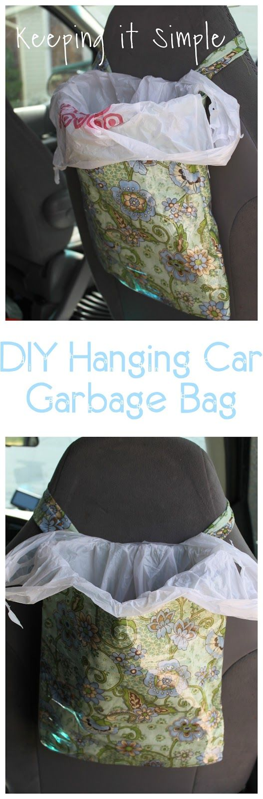 Car interior hanging - Diy Hanging Car Garbage Bag Perfect For Kids Who Are In The Back Seat That