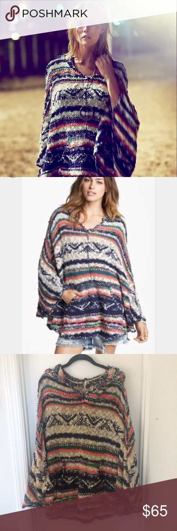 Free People Open Weave Blanket Poncho Free People Open Weave Blanket Poncho with hood Free People Sweaters Shrugs & Ponchos