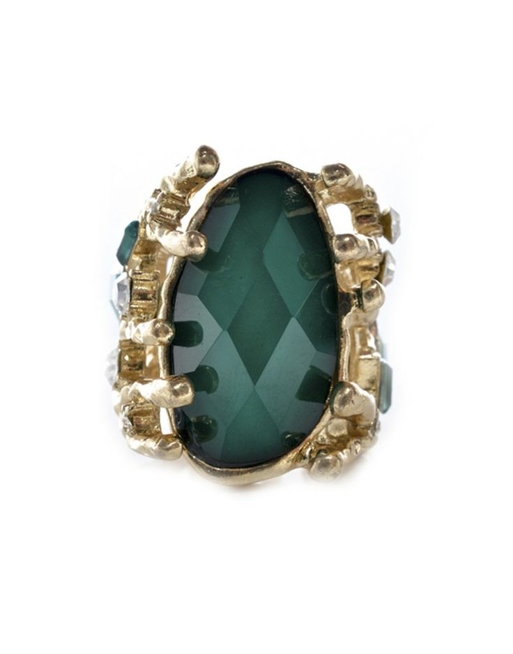 MAJIQUE | Faux Gold Ring in Emerald Green - - Style36