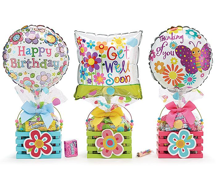 """#burtonandburton General Message Gift Crate Assortment<br>Wood crate, 9"""" air-filled balloon, pre-wrapped branded candy, ribbon curls, cellophane,   card.<br><br>Set of 6.<br>Assortments are subject to substitutions."""