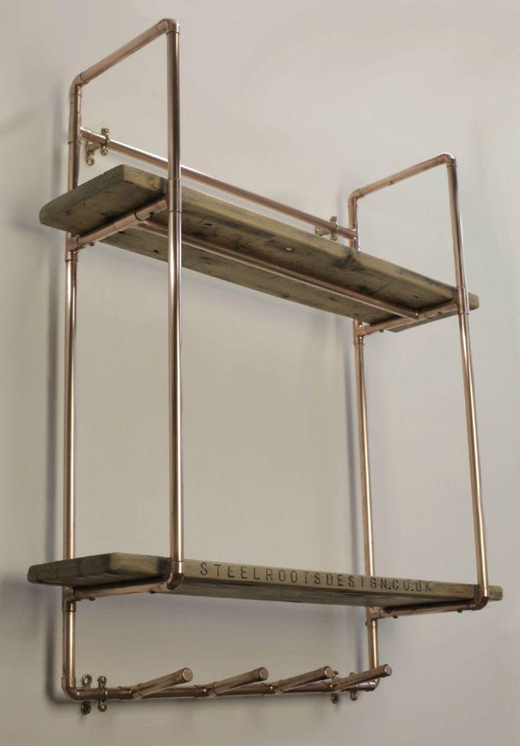 Home / Shop / Copper Furniture / Tall, 2 shelf 15mm copper pipe unit ...