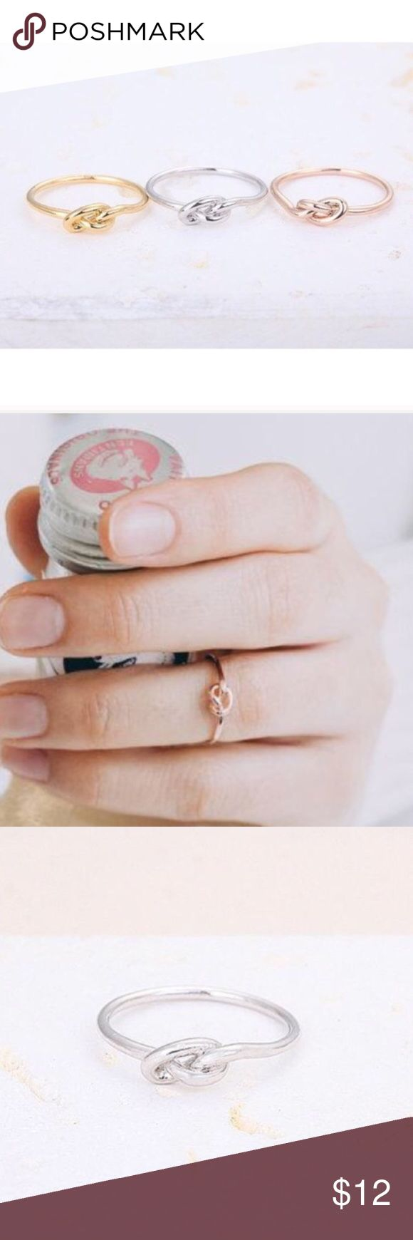 "Tie The Knot Ring Dainty ""tie the knot"" ring perfect for a bachelorette party, bride to be, or just to treat yourself because its adorable. Knot design. Main Material: Zinc Alloy metals. 18k gold plaited. Lead and nickel FREE. Size:6.5. 18k Gold ONLY available !  ❁ Click ""Add to Bundle"" to add more items in my closet or ""Buy"" to checkout here. ❁ ↓Follow my closet on Instagram ↓                       @xosamscloset ❁↓Check out my pins↓  www.shopsailorvirgo.storenvy.com Jewelry Rings"