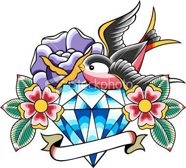 Tatouage, Diamant, Rose, Retour du rétro, Démodé Illustration vectorielle libre de droits