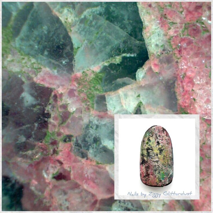 Quartz inspired nail art by Ziggy Glitterdust, mint, pink, silver pastel