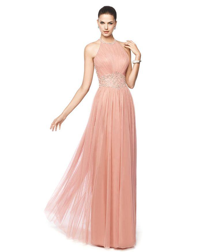 Бледно-розовый Холтер вечернее платье Niara - Pronovias 2015