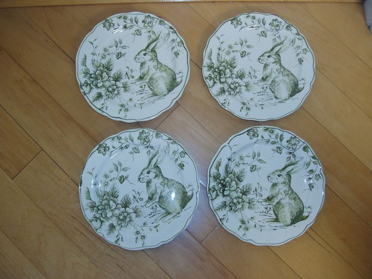 Maxcera toile easter bunny rabbit spring salad plates set of 4 new & 20 best Maxcera dinnerware images on Pinterest | Bunny Dinnerware ...