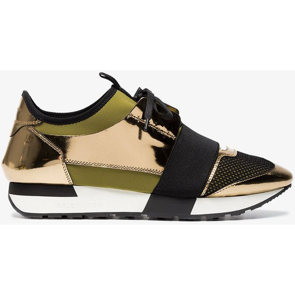 Balenciaga Gold Race Runner Sneakers ($700) ❤ liked on Polyvore featuring shoes, sneakers, metallic, gold metallic sneakers, gold shoes, gold trainers, green sneakers and black sneakers