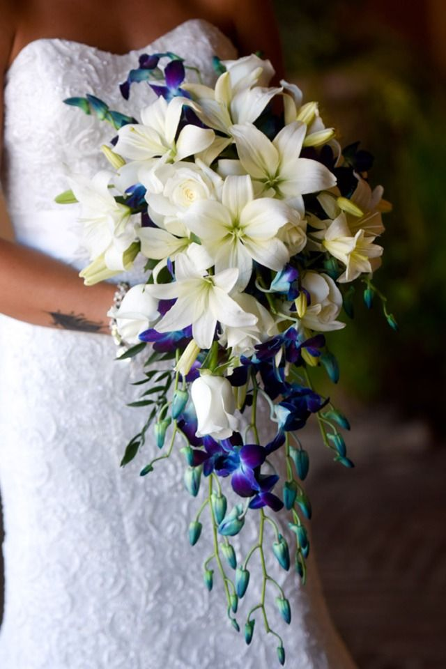 Cascading bridal bouquet with white Asiatic lilies and roses with an accent of royal blue Delphinium | One Fine Day Photography | villasiena.c