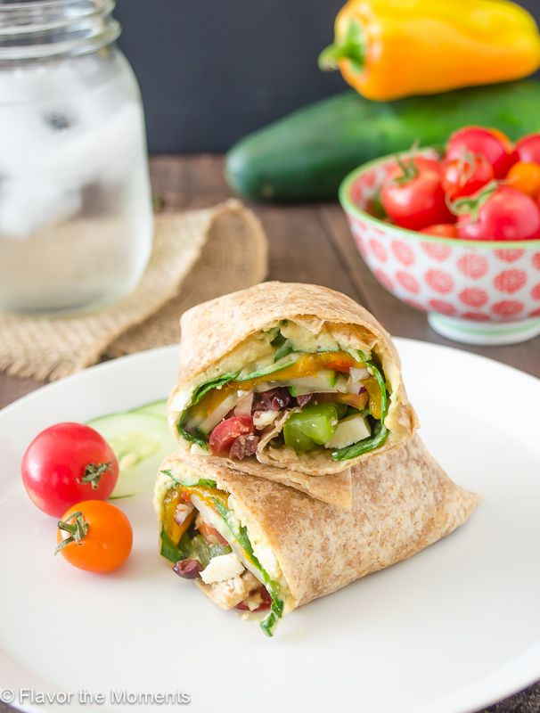 Greek Veggie Hummus Wrap has all the veggies you need for a Greek salad wrapped in a whole wheat tortilla with creamy hummus. It's hearty and satisfying!