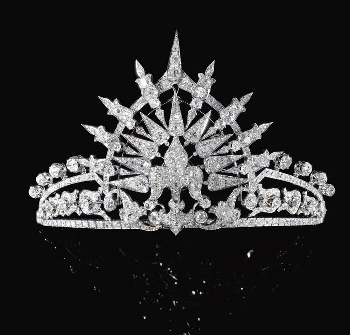 Bavarian: Bavarian Sunburst Tiara - c 1900. This tiara was originally part of the wedding present from Queen Isabella II of Spain to her daughter Infanta María de la Paz, Princess of Bourbon (b.1862-1946), who married Prince Ludwig Ferdinand of Bavaria (b.1859-1949), in 1883 at the Palacio Real, Madrid.
