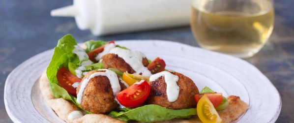 Mediterranean Turkey Meatball Sandwiches Pita Or Wrap Recipe - Genius Kitchen