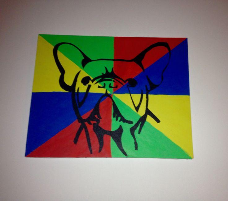 Diy schilderij. Makkelijk te maken : 1) Maak een leuke achtergrond 2) print een leuk stencil uit 3) snijd de lijnen uit en plak het figuur vast op je schilderij 4) dop een spons in de verf en vul de lijnen van het figuur op 5) haal voorzichtig het figuur eraf  Nu heb je een leuk schilderij!