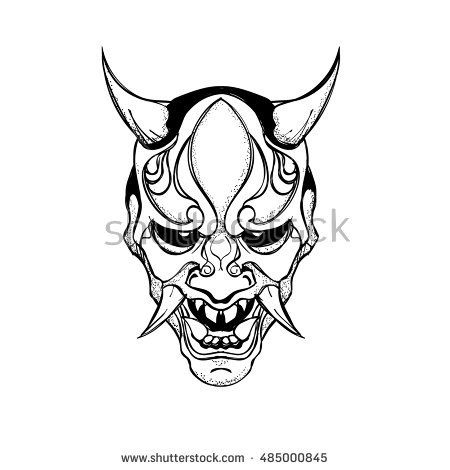Flat,vector.Japanese demon mask.