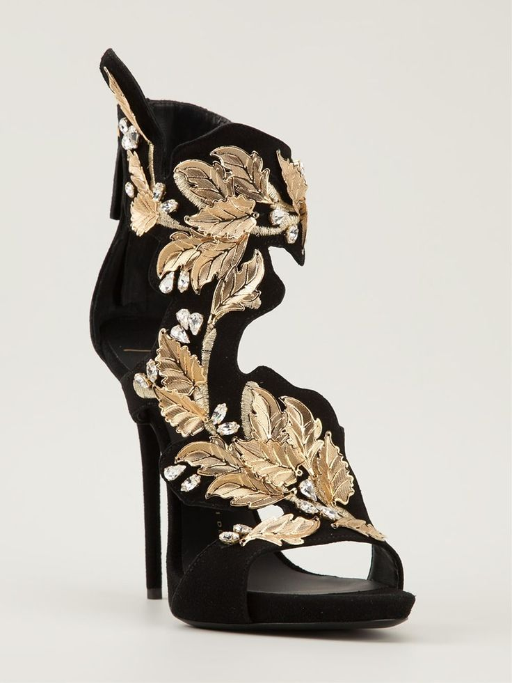 Black and gold calf leather embroidered floral sandals from Giuseppe Zanotti Design