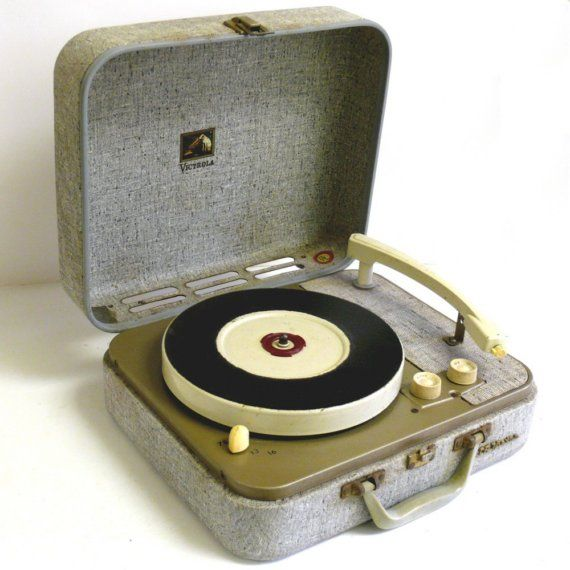 RCA Suitcase Style Portable Record Player by allunique on Etsy..the little red thing on the middle was to fit the 38's on