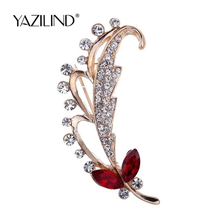 2016 Fashion Fine Jewelry Vintage Placcato Oro Spilla Foglie di Cristallo Del Rhinestone Pin Spille gioielli