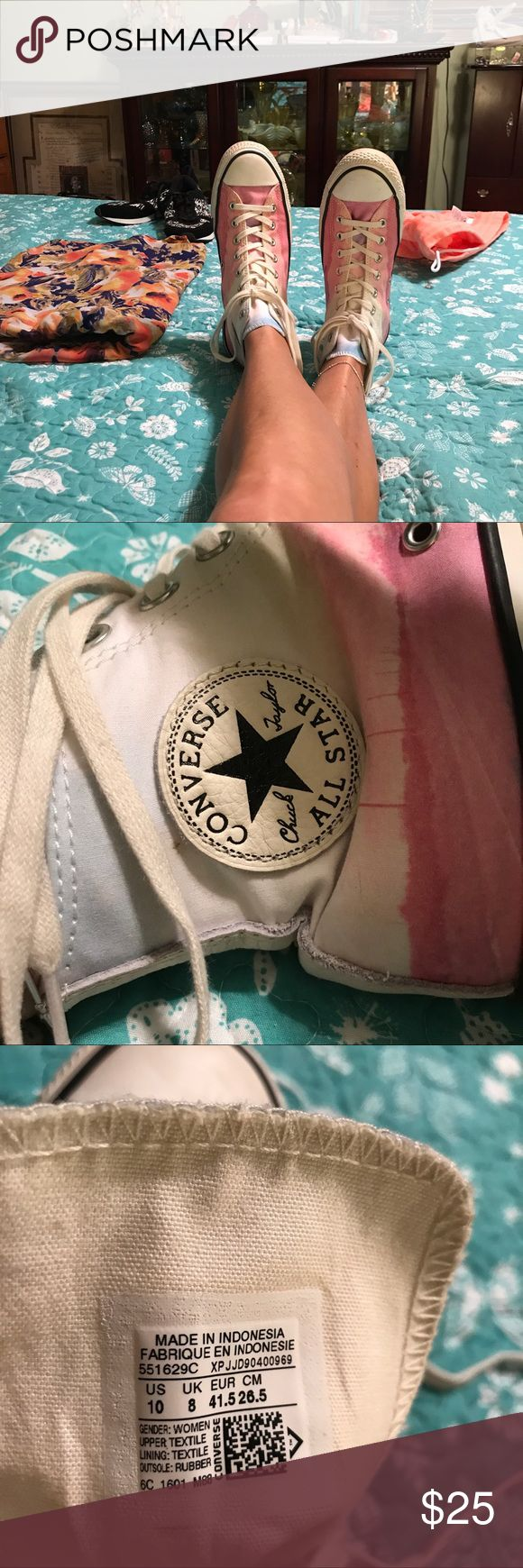 👟 ladies Converse hightop tennis shoes almost new Beautiful rainbow colored had top tennis shoes converse, if you will notice the coloring of the pink there is a highway or road and power poles going down the side of the tennis shoe very unusual excellent condition hardly worn see pictures for more detail I do except offers thanks for looking and happy poshing Converse Shoes Sneakers