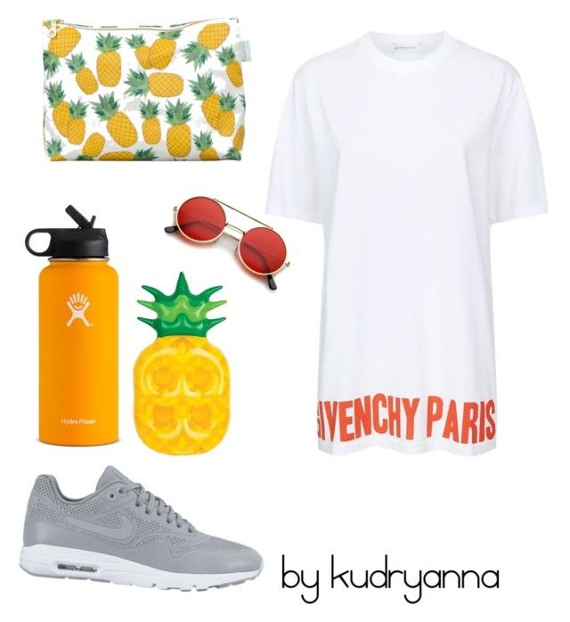 """""""Без названия #147"""" by kudryanna ❤ liked on Polyvore featuring Givenchy, NIKE, Rosa & Clara Designs, ZeroUV, Sunnylife and Hydro Flask"""