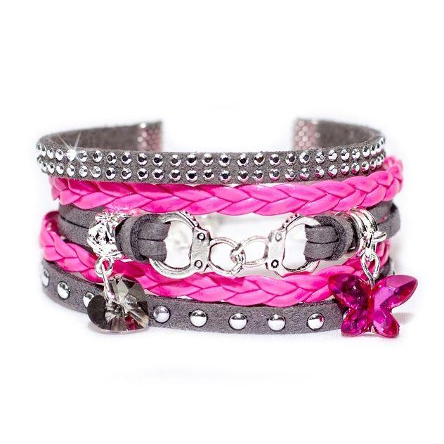 Bracelet Manchette multirang en suédine/daim et simili cuir - Gris et rose fluo