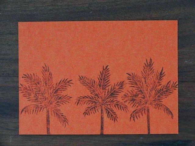 Palmtrees orange linogravure HeleneB