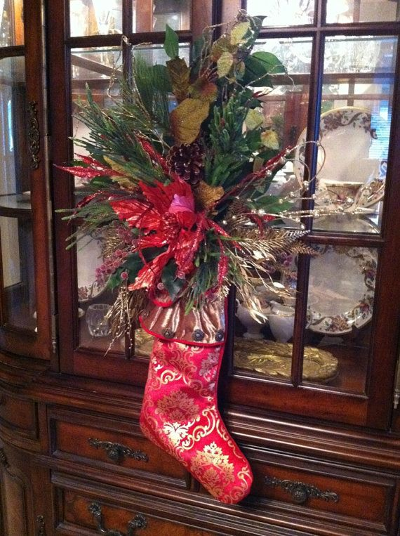 Christmas Stocking Door Hanging Holiday Wreath Front