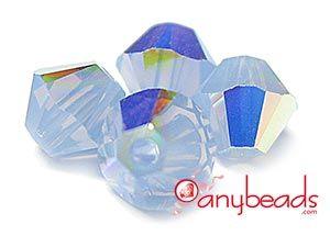 Austrian Swarovski Crystal Elements 5328 Bicones 4mm - Air Blue Opal AB