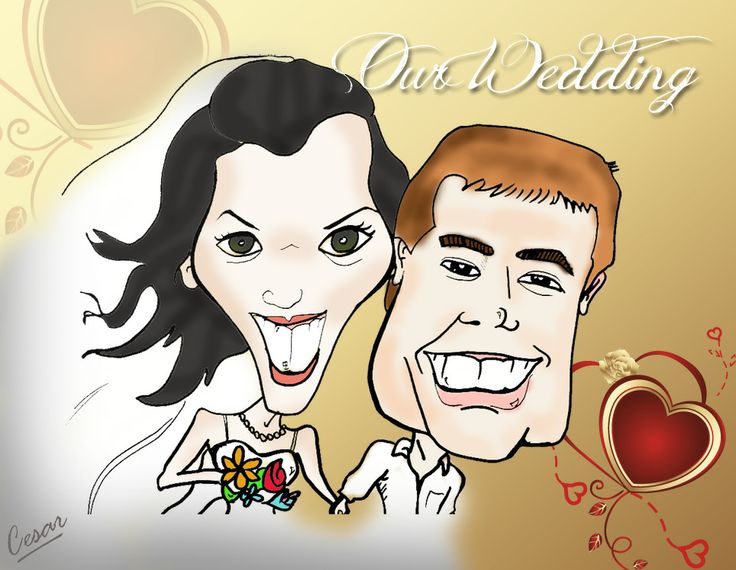 Use your wedding caricature in the decoration, invitations, emails, etc