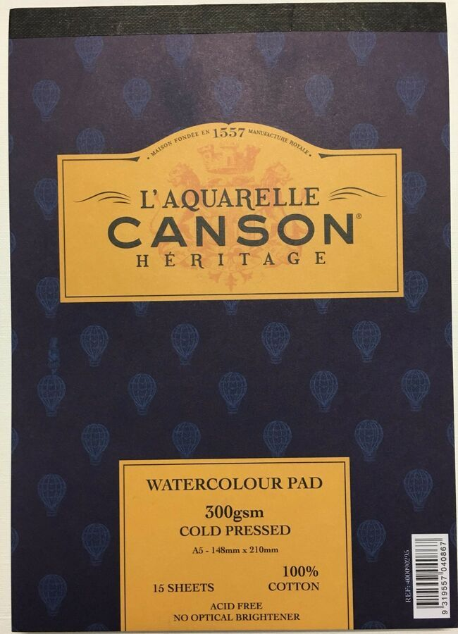 Canson Heritage Watercolour Paper A5 Pad 300gms Smooth Medium
