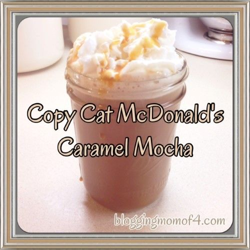 Here's a great copy cat McDonalds Caramel Mocha Recipe that you can enjoy right from home. The recipe calls for milk. You can use whatever milk you like.