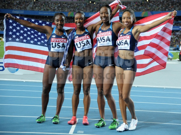 US Womens 4X100M team  Bianca Knight, Carmalita Jeter, Sandra Richards Ross, and Alyson Felix