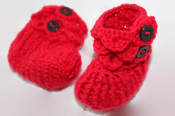 Unisex Crochet Newborn Baby Booties Red with by MadeforYOUbyFi
