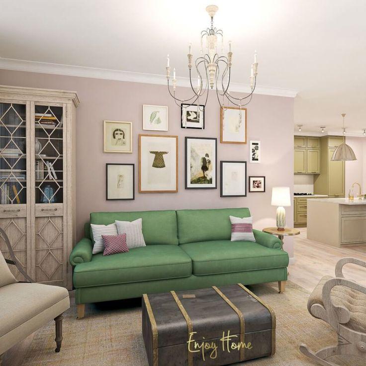 Пока мы готовим для вас новый #enjoy_home_практикум, покажем визуализацию той самой гостиной с люстрой номер 3, которая нашим дизайнерам показалась наиболее подходящей для темы интерьера #enjoy_home #enjoy_home_design #гостиная