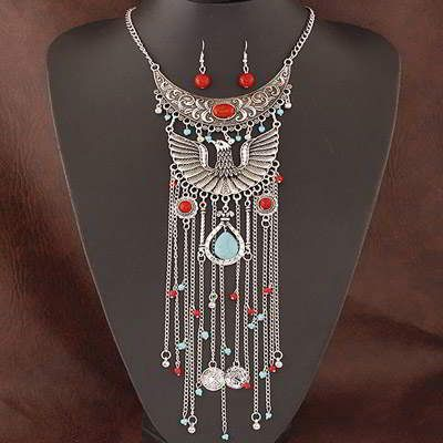 Owl Decorated Tassel Design Bohemian Silver Color