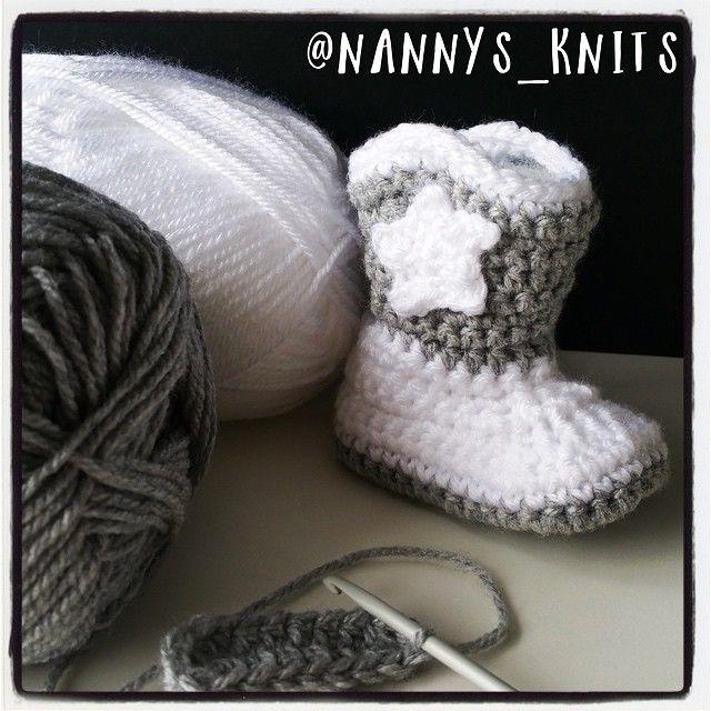 Working on some gorgeous little booties #cowboyboots #whiteandgrey #handmade #crochet #crochetbooties #booties #newborn #baby