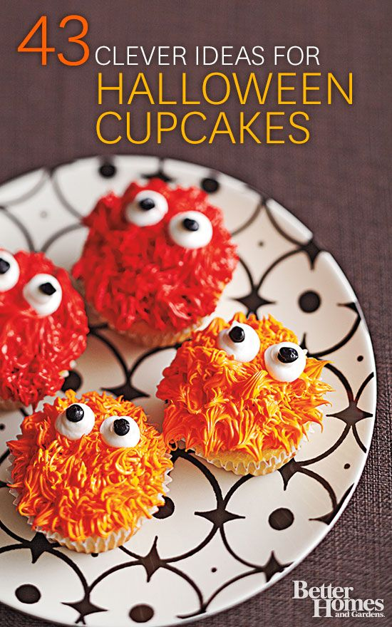 Celebrate Halloween with our fun and easy-to-make cupcake ideas! Get recipes here: http://www.bhg.com/halloween/recipes/17-frightfully-good-halloween-cupcakes/?socsrc=bhgpin083114halloweencupcakes