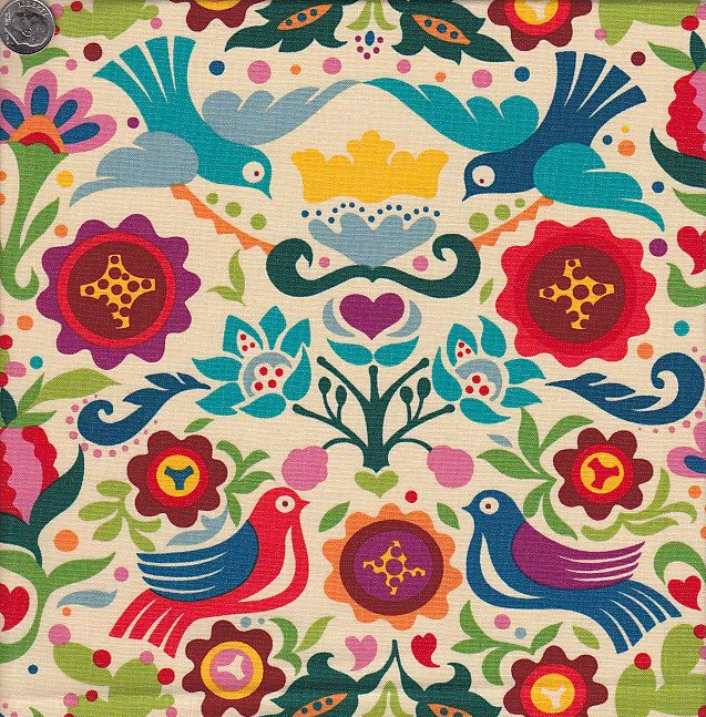 east european folklore folk art flower and bird fabric pattern Alexander Henry Folklorico La Paloma