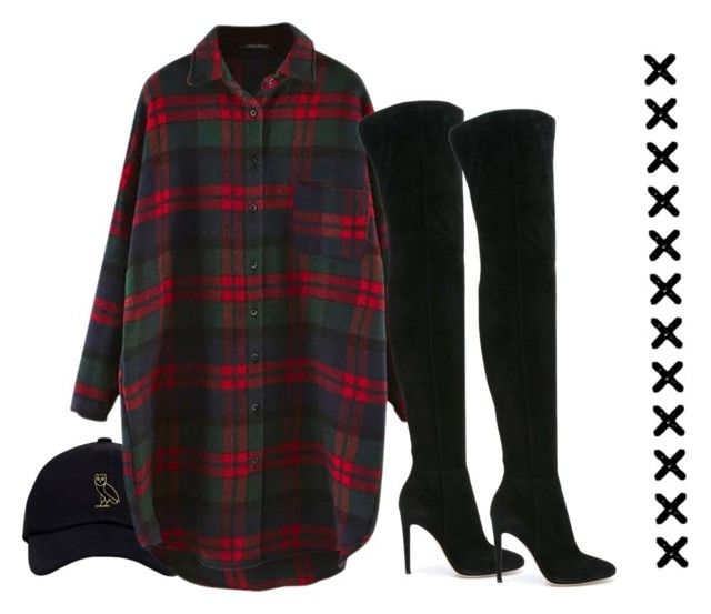 """thigh high"" by sassy-black-snake-with-no-venom ❤ liked on Polyvore featuring Gianvito Rossi, cute, like, Boots, plaid and Fall2016"