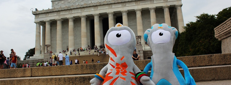 USA: London 2012 mascots Wenlock & Mandeville visited the Lincoln Memorial in Washington, DC.
