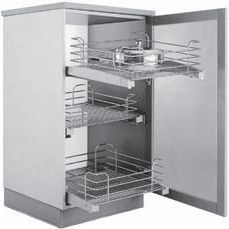 Kit of three chrome pull-out baskets with runners and braking system for tall unit with H.128cm, D.132cm  45cm 60cm