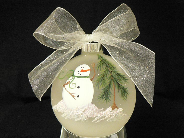 Hand Painted Frosted Round Glass Christmas Ornament with Snowman & Tree. $12.00, via Etsy.