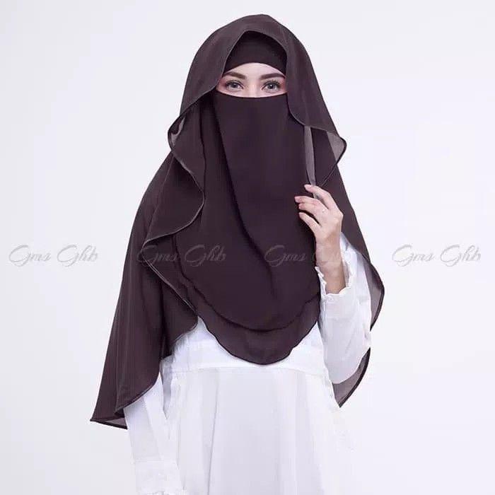 Hijab Cadar Niqab Lis Varian Produk Baru Kami Nijab Niqab Syari Dengan Aksen Layer Dan Lis Kain Satin Warna Senada Di Sekeliling Niqa Fashion Niqab Nun Dress