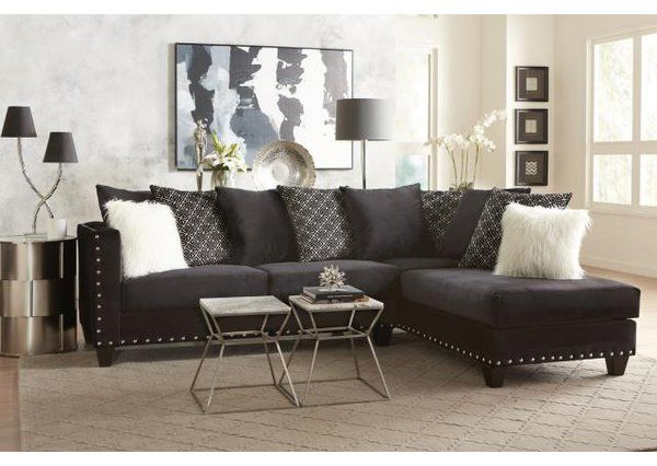 Cloutier Right Hand Facing Sectional Black Sectional Living Room Living Room Sectional Black Living Room