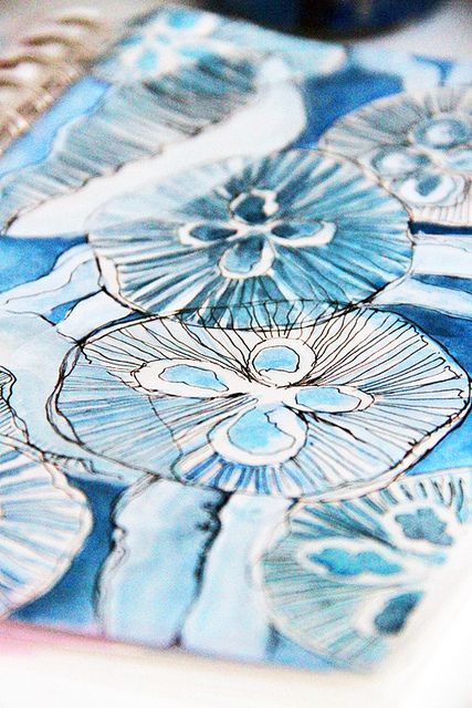 Love the monochromatic floral watercolor sketch