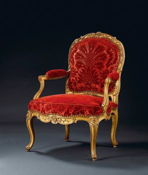 Louis Xv Armchair With Cabriole Legs, Gold Gilding And Colorful Upholstery