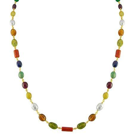 Jpearls Navratan Gold Chain | Designer Gold Chain with Gemstones