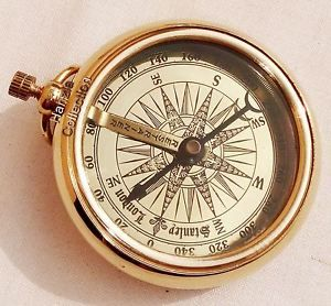 Brass Pocket Compass Stanley London Antique Nautical Brass Compass Vintage